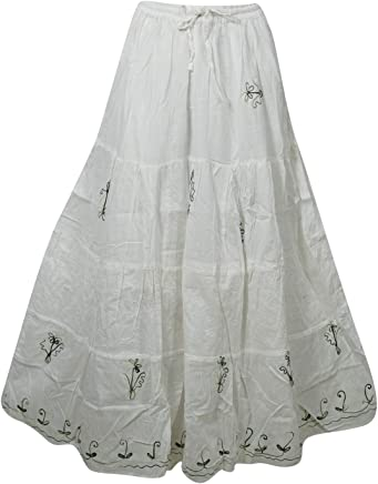 b7e8c95aaa Mogul Interior Women's Maxi Skirt White Cotton Gauze Embroidered Gypsy Skirts  M