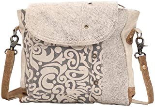 Myra Bag Factual Upcycled Canvas & Cowhide Messenger Bag S-1487