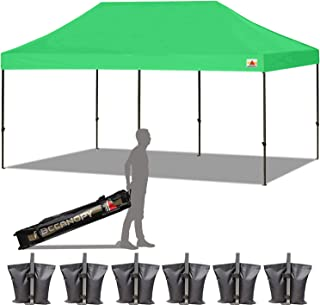 ABCCANOPY 18+ Colors 10x20 Pop up Tent Instant Canopy Commercial Outdoor Canopy with Wheeled Carry Bag Bonus 6 Weight Bags (Kelly Green)