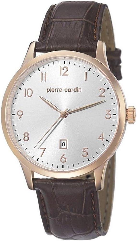 Pierre cardin,orologio per uomo,con cassa in acciaio inossidabile placcato oro e cinturino in pelle pc106671f05