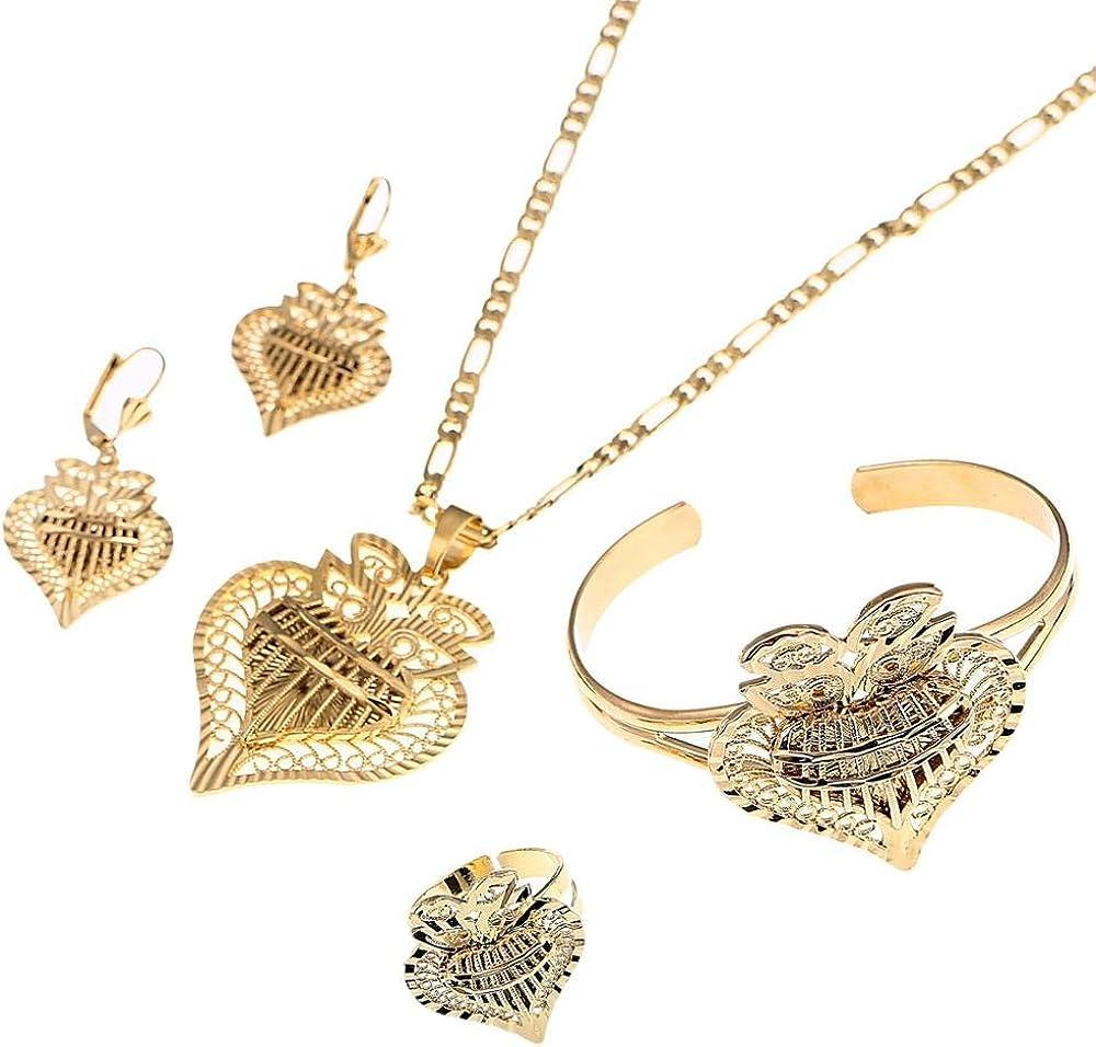 xtszlfj Heart Dubai Jewelry Sets Ethiopian Necklaces Earrings Ring Bangle African Gold Color Arab Wedding Bride Dowry