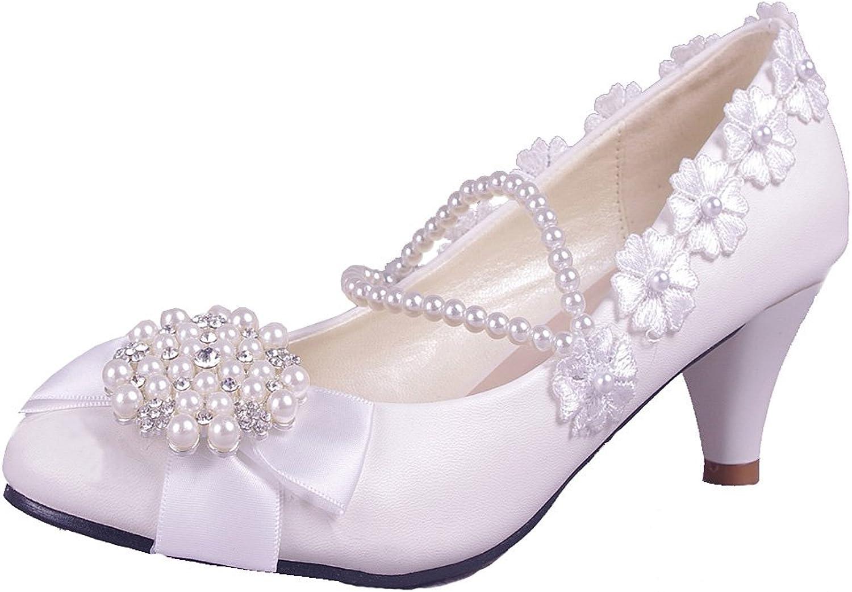 Getmorebeauty Women's Pearls Lace Weave Flower Kitten Heel Wedding shoes White
