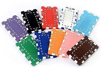 Uego de póker de casino de lujo Estilo Casino Chips No Valor nominal del rectángulo Hold'em Mahjong Club Room Juego de ajedrez de la moneda chips 100 Piezas ( Color : Multicolor , tamaño : Un tamaño )