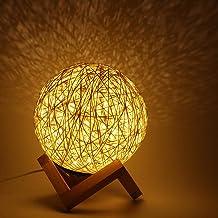 Romantische nachtkastje lamp, rotan bal oplaadbaar maanlicht nachtlampje voor woonkamer slaapkamer decoratie(Beige)