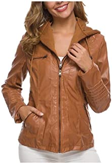 Howely Womens Plus Size Hoodie PU Leather Crop Top Zipper Trench Coat