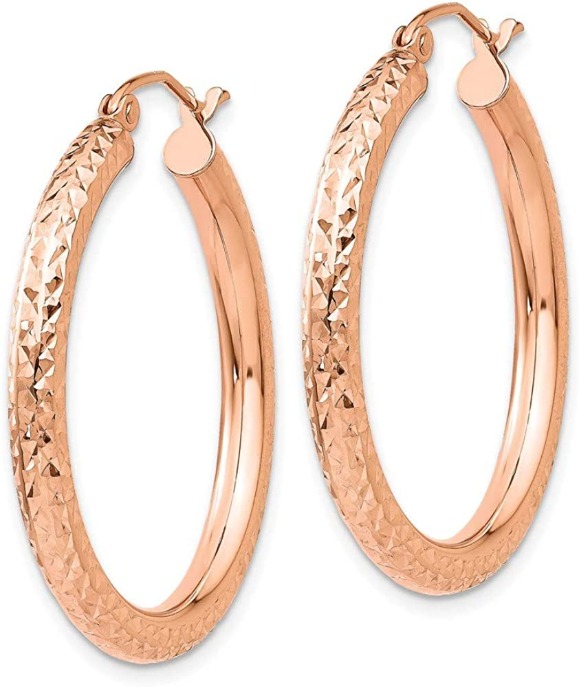 14k Rose Gold 3mm Round Hoop Earrings Ear Hoops Set Fine Jewelry For Women Gifts For Her
