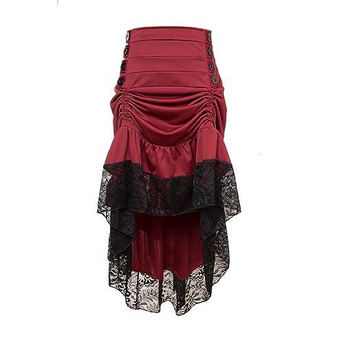 5fcaf4ef9b650 Alex sweet Adjustable Ruffle High Low Gothic Skirt Plus Size Steampunk  Corset Skirt Long Dress