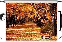 写真撮影のための の風景の背景7x5ftポリエステル生地世界中の黄金の葉結婚披露宴の肖像画のための秋の森の写真の背景写真ブースの背景