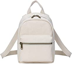 Gnirue Cotton Canvas Mini Backpack for Women Purse Rucksack Shoulder Bag (White)
