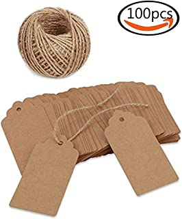 """100 sheets  Rectangle  Craft tag  price tag Clothing label Kraft paper tag  (Size: 45 mm × 95 mm) """"Brown brown"""" ..."""