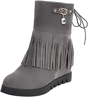 Melady Women Classic Fringe Booties Wedge Heels