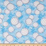 Timeless Treasures Volleyballs Blue, Quilting Fabric by the Yard