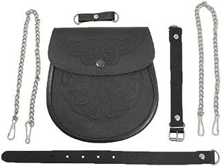Genuine Leather Celtic Knot Embossed Scottish Sporran w/ Belt