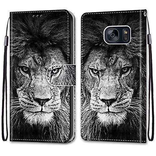 JMTALL Compatible con Samsung Galaxy S7 Funda de piel sintética con diseño de león y tarjetero con cierre magnético, protección a prueba de golpes para Galaxy S7
