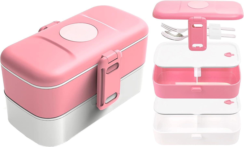 Fiambrera con compartimentos, para adultos y niños, universal, con cubiertos de acero inoxidable, sin BPA, 1,2 l, para la escuela, oficina, camping, microondas y lavavajillas