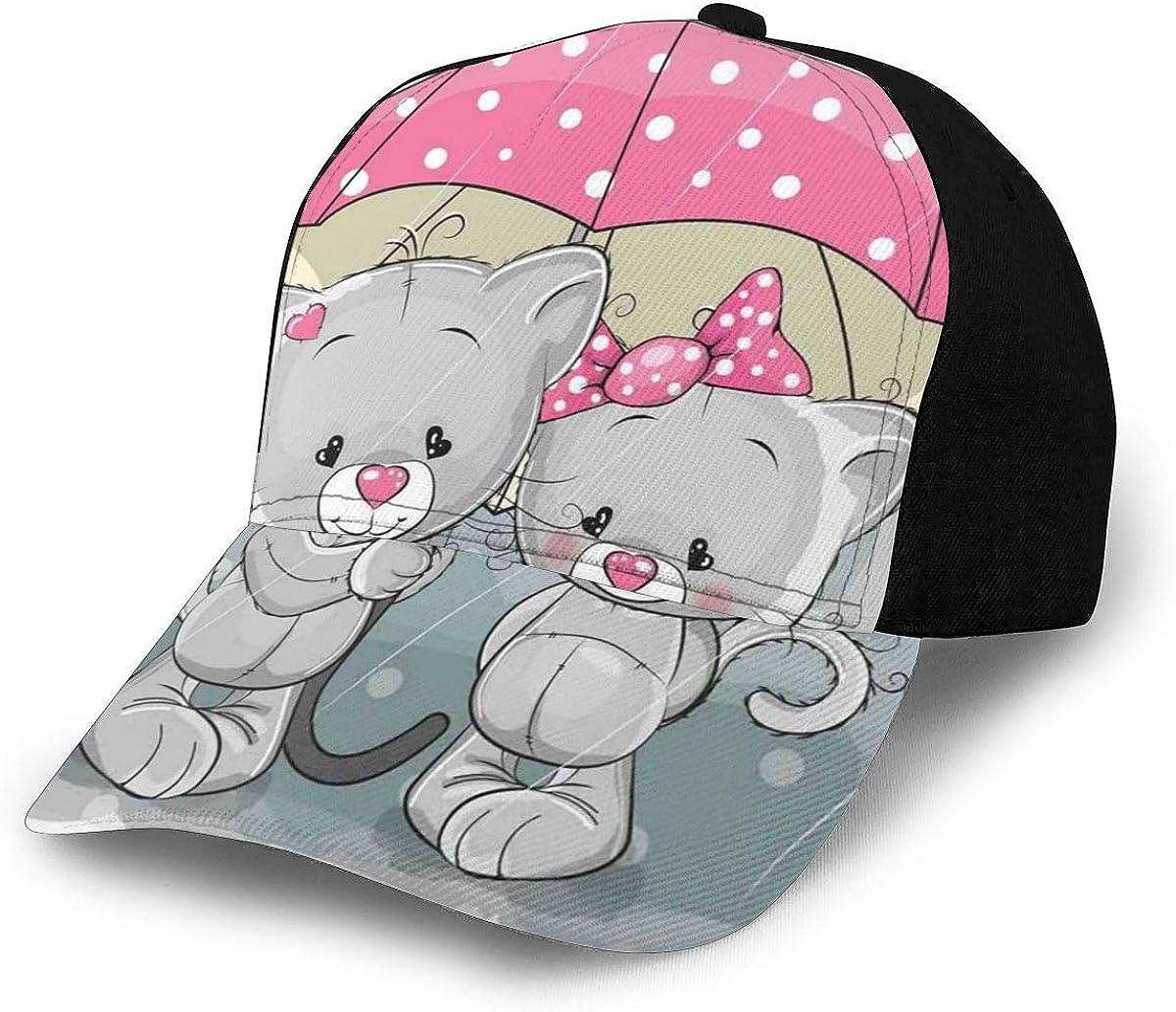 Unisex Classic 3D Baseball Cap Trucker Hat Partner Kittens with Umbrella Under Rain Cute Couple Love Romance Artsy Image