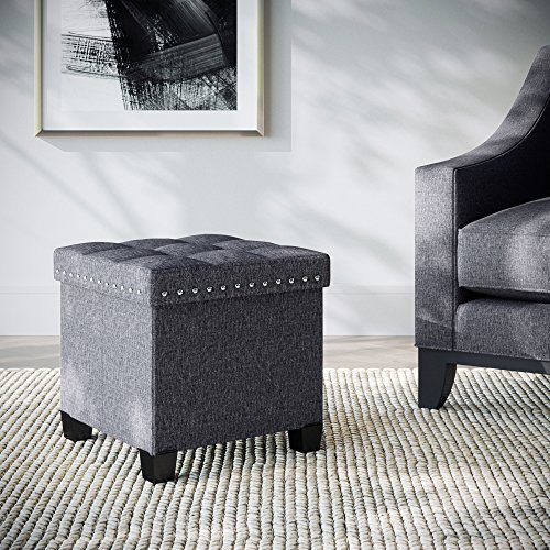 Nathan James Payton Foldable Storage Ottoman Footrest and Seat, Cube, Gray