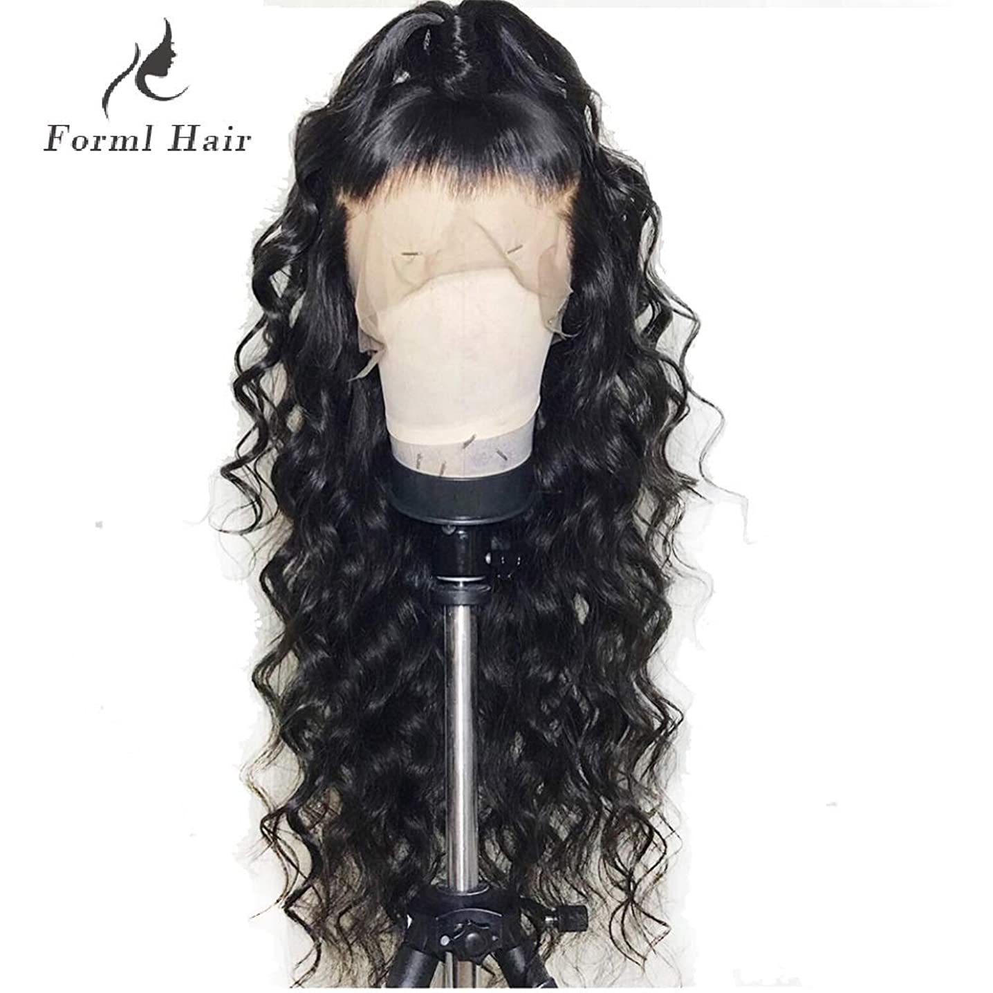 Formal hairLoose Curly Wave Lace Front Human Hair Wigs-Glueless 130% Density Brazilian Virgin Remy Wigs with Baby Hair For Black Woman 16Inch Natural Color dgkkfexet