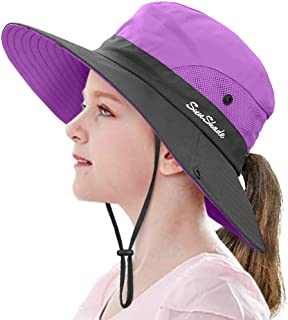 Kids Ponytail Sun Hat Wide Brim UV Protection for Girls...