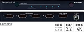Key Digital KD-S4x1 4 Inputs to 1 Output HDMI Switcher, supports HDR10, HDCP2.2, Ultra HD/4K
