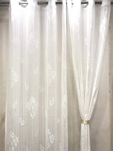 Harshika Home Furnishing Polyester & Polyester Blend Floral Curtain, 4 X 7 Feet, White, Pack of 2