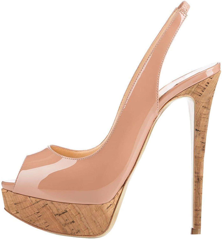YBeauty Womens Platform Pumps High Heel Peep Toe Dress Sandals Slingback Buckle Pumps shoes Ankle Patent Leather Nude and Wood US9