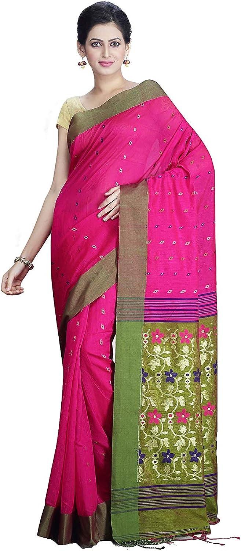 Maahir Garments Exclusive Matka Silk Fushia Coloured Handloom Saree Blouse