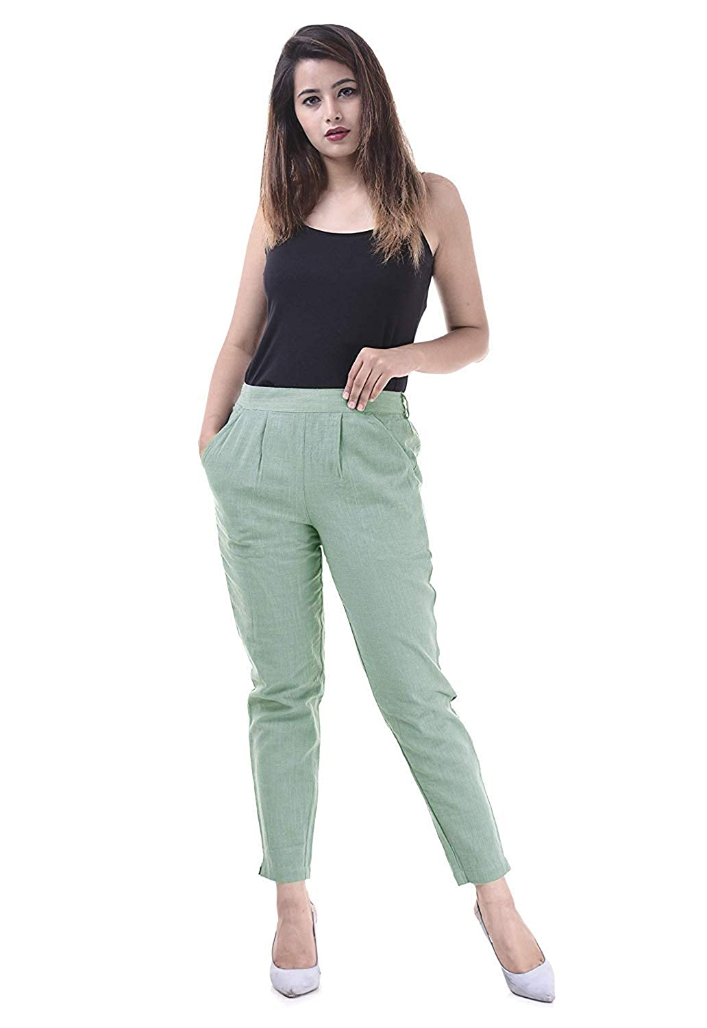 Buy Stylemyth veshh Cotton Regular Fit Trousers for Ladies/Girls/Women's at  Amazon.in