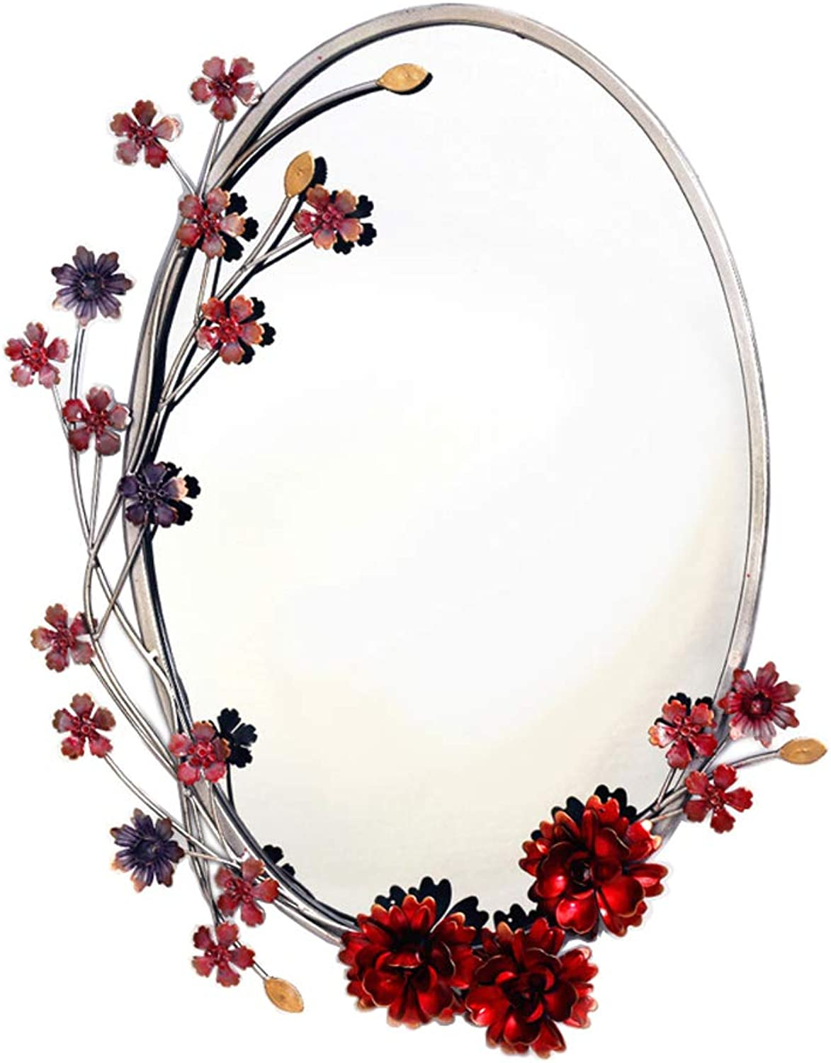 Oval Vanity Wall Mirror Bathroom Makeup Mirror Ornate Decorative Framed Living Room Bedroom Hallway Entryways Wall-Mounted (19.7 inch x 15 inch)