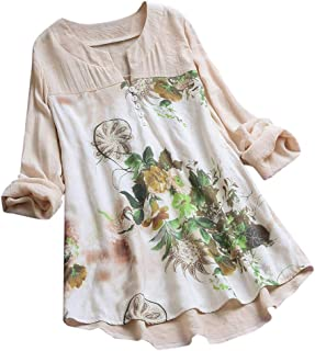 Women Long Sleeve Blouse T-Shirt ❀ Ladies Vintage V-Neck Floral Printing Patch Long Tops Plus Size Casual Fashion Mini Dress Tops