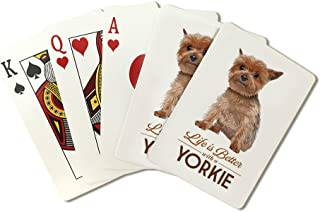 Yorkie - Life is Better - White Background (Playing Card Deck - 52 Card Poker Size with Jokers)