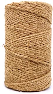 Jute Twine 3mm Thick 328 Feet Heavy Duty Natural Jute Rope String for Home Gardening Plant Picture Hanger Industrial Packing String for Gifts Presents Mason Jars Wedding Decorations Art&Crafts