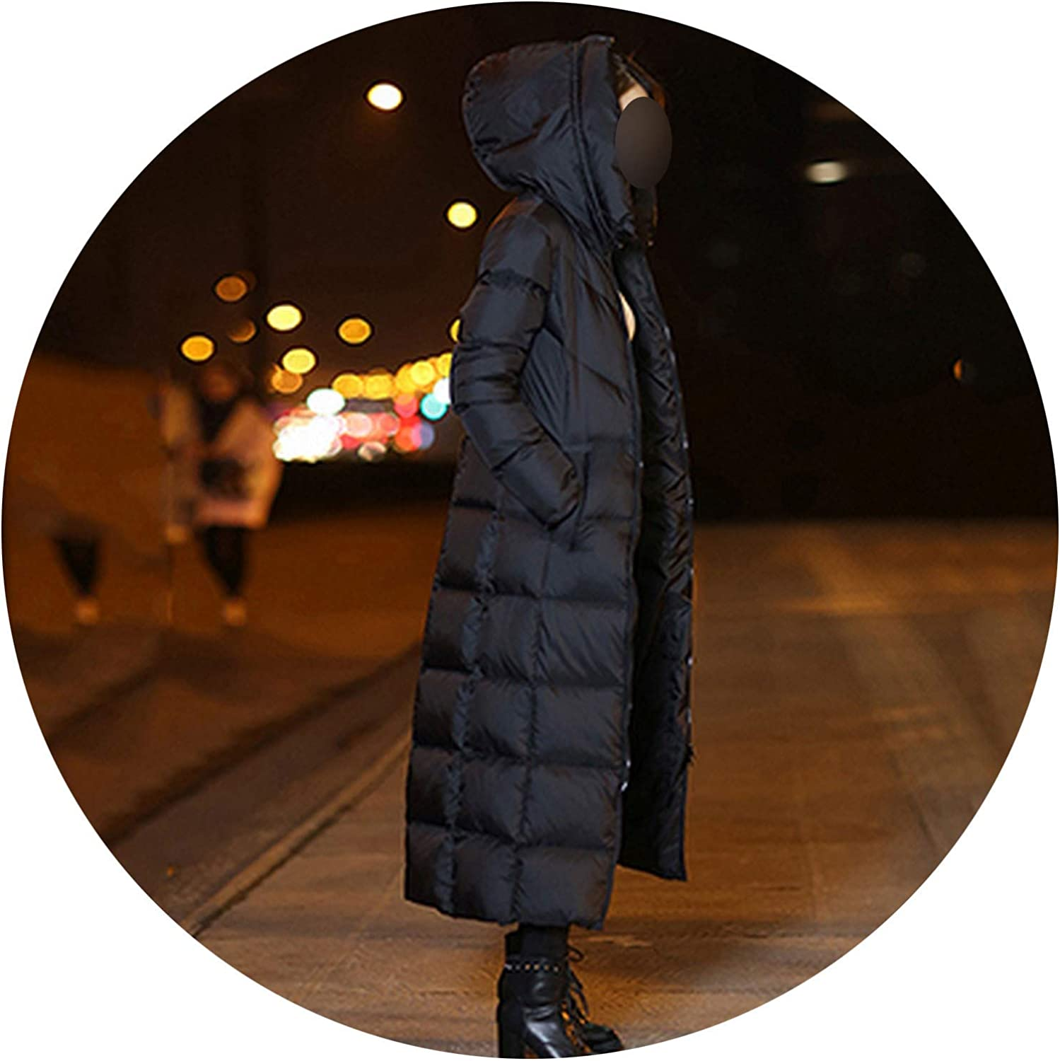 Little Happiness 2019 Winter Women Down Jacket Coat Long Fashion Warm Outerwear High Coats Female Parkas