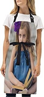 YIXKC Apron Cute Little Girl Reading Book Adjustable Neck with 2 Pockets Bib Apron for Family/Kitchen/Chef/Unisex
