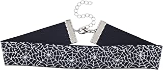 Lux Accessories Black White Spider Web Silver Tone Halloween Choker Necklace