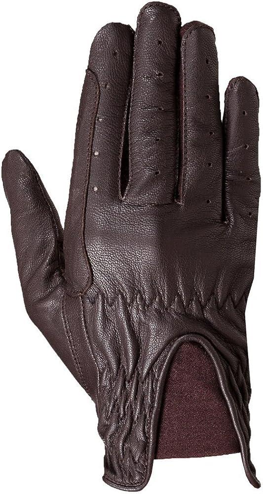 Horze DEANA womens leather gloves with lycra i, Dark brown, 6