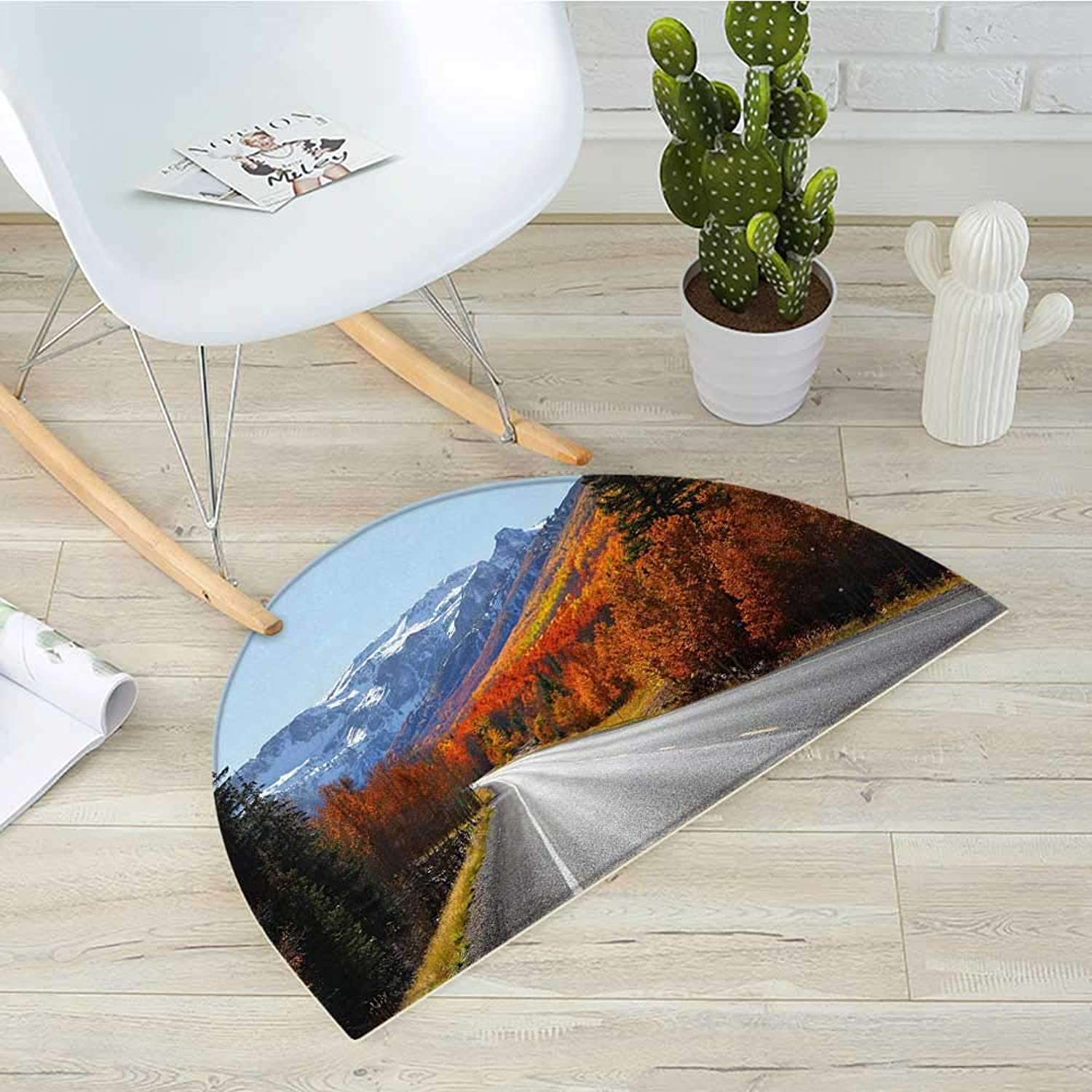 Fall Semicircle Doormat Highway Through The Countryside American Landscape Snowy Mountains Foliage Travel Halfmoon doormats H 39.3  xD 59  Multicolor