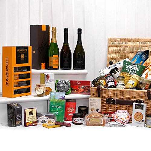 Luxury Food Hamper with Gourmet Delights and Vintage Champagne - Gift Ideas for Birthday, Wedding, Anniversary, Christmas, him, her, Mum, dad, Business, Corporate