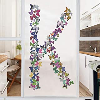 Decorative Window Film,No Glue Frosted Privacy Film,Stained Glass Door Film,Nature Inspired Typography Letters with Flying Monarch Butterflies Insects Wings Decorative,for Home & Office,23.6In. by 35.