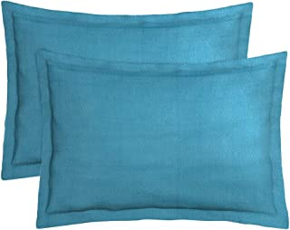 Dream Weaverz Soft Cotton 260 TC Pillow Cover, 18 x 27 Inch, Turquoise, 2 Pieces