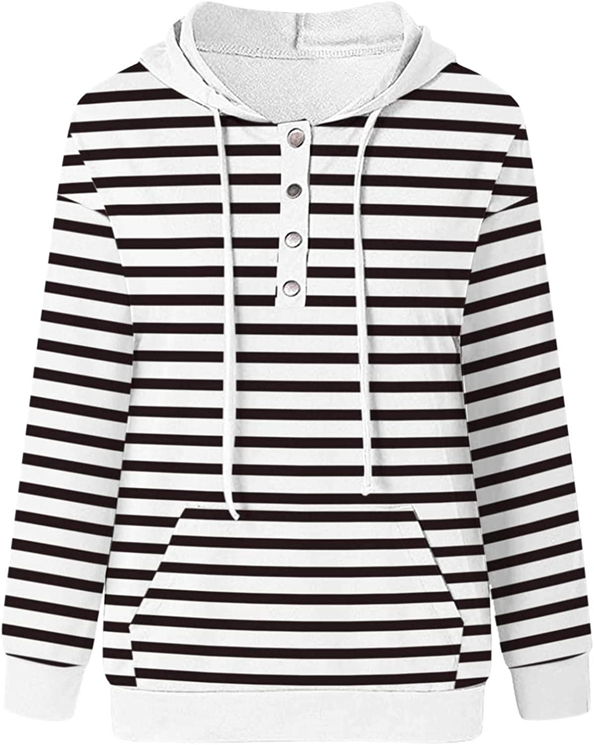 Jaqqra Hoodies for Women Button Down Pullover Long Sleeve Casual Drawstring Sweatshirts Comfy Hoodie Tops with Pocket