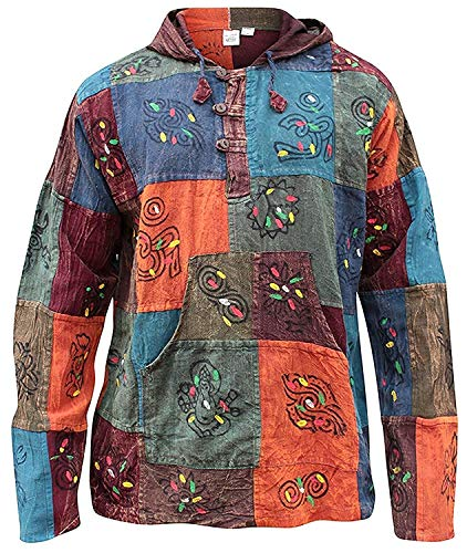 Kapuzenpullover, ausgewaschene Optik, Baumwolle, mit Patchwork, bunt, Hippie-Kleidung, Boho Gr. Groß, mehrfarbig