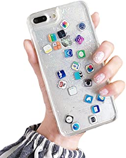 UnnFiko Liquid Glitter for iPhone 6s Plus, Hard Back Colorful Bling Quicksand with APP Shine Phone Case for iPhone 6 Plus (Sand Glitter, iPhone 6 Plus / 6s Plus)