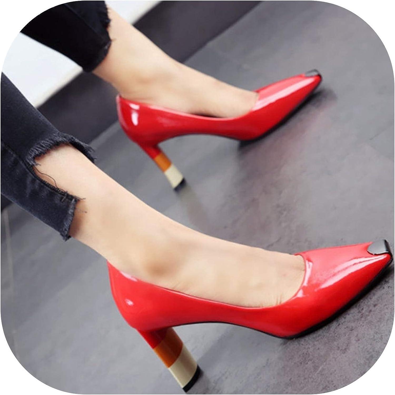 Färgöd Heel kvinnor hög klack skor Metal Metal Metal Square Toe Girls Bröllop kvinnor Pump High klackar, röd,8  varm begränsad upplaga