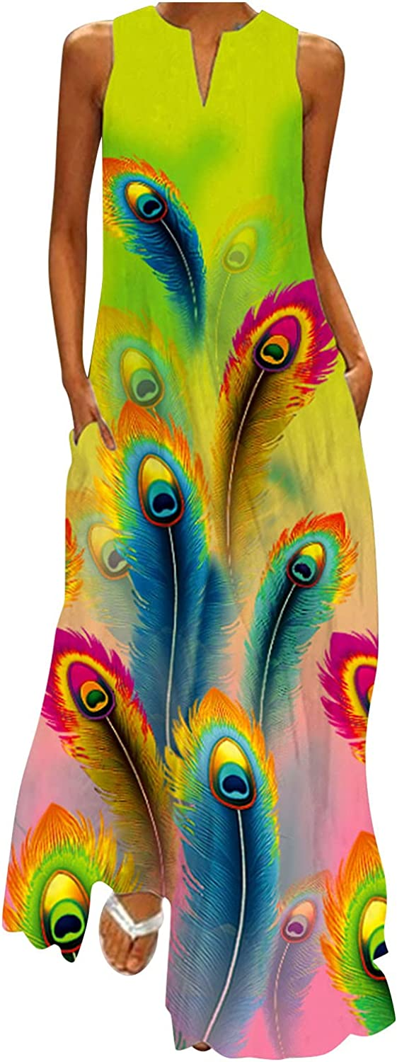 TAYBAGH Summer Dresses for Women, Womens Floral Printed Sleeveless Plus Size Maxi Dress Casual V-Neck Party Long Dresses