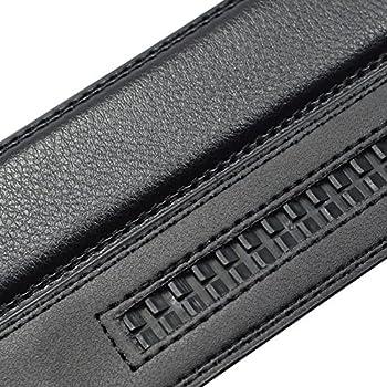 QISHI YUHUA PD Mens Casual Business Leather Belts Black Ratchet Belts 312-Black,L