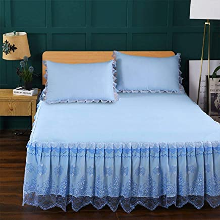 QXJR ベッドカバー,ベッドスカート,レース製 花柄 プリンセス 寝具 いベッドスカート シングル 敷き布団 単色 シート-B-150×200Cmベッドスカート+2枕カバー