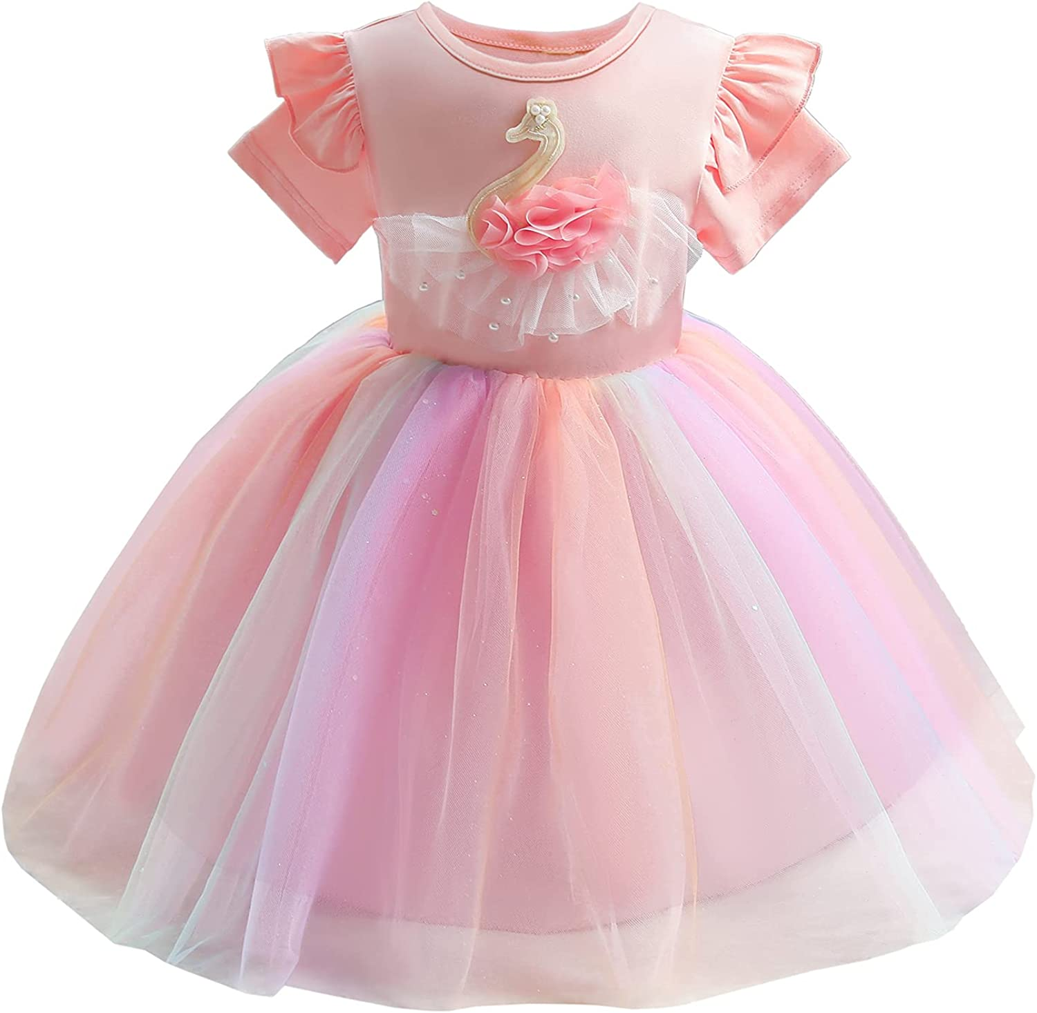3-10 Years Big/Little Girls Bridesmaid Dress A-Line Wedding Pageant Dresses Tulle Party Dance Gown - 8202