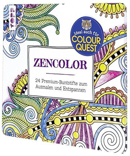 Zencolor Stiftebox mit 24 Buntstiften: 24 Premium-Buntstifte im Metalletui zum Ausmalen und Entspannen