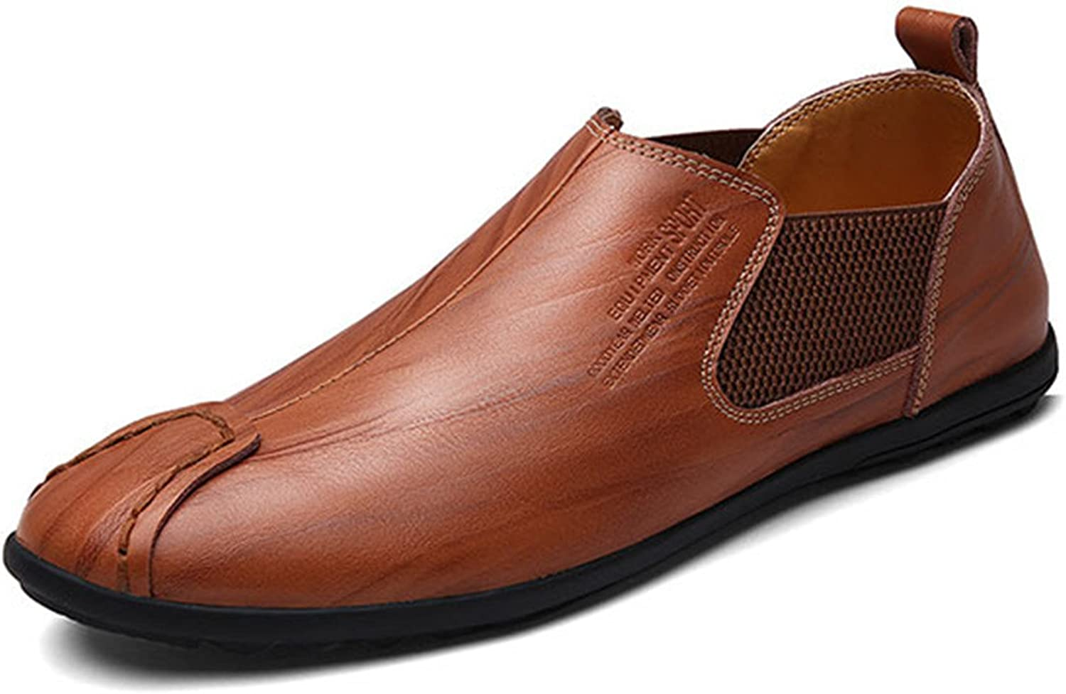 Gracosy Men's Leather Loafers, British Style Premium Classic Oxfords shoes Flat Breathable shoes